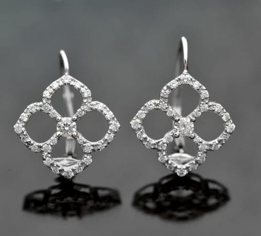 Diamond Flower Petal Lever Back Earrings 1