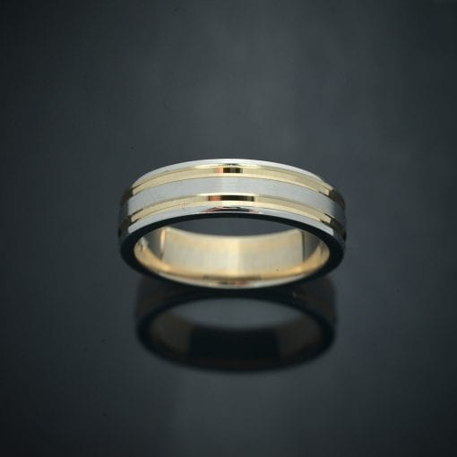 Faceted Inlay 14K Two-Tone Wedding Ring (7mm) 2