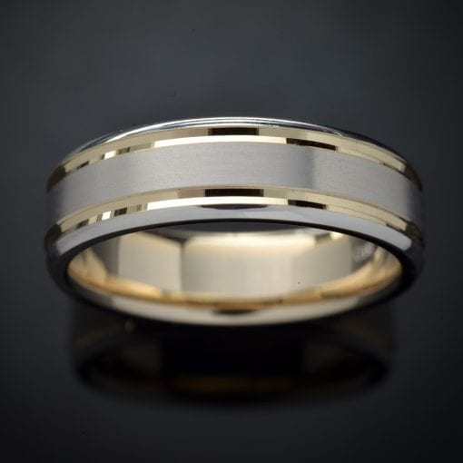 Faceted Inlay 14K Two-Tone Wedding Ring (7mm) 1