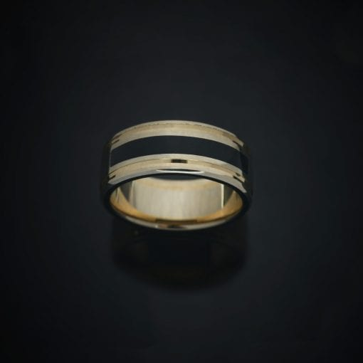 Faceted Inlay 14K Two-Tone Wedding Ring (7mm) 3