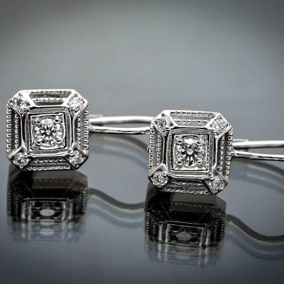 Vintage Style Diamond Lever Back Earrings