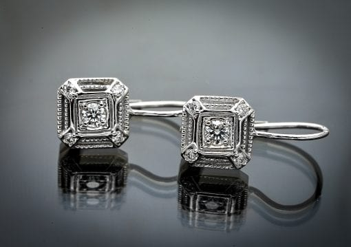 Vintage Style Diamond Lever Back Earrings
