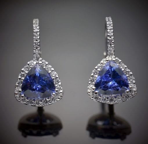 Tanzanite and Diamond Lever Back Earrings 1