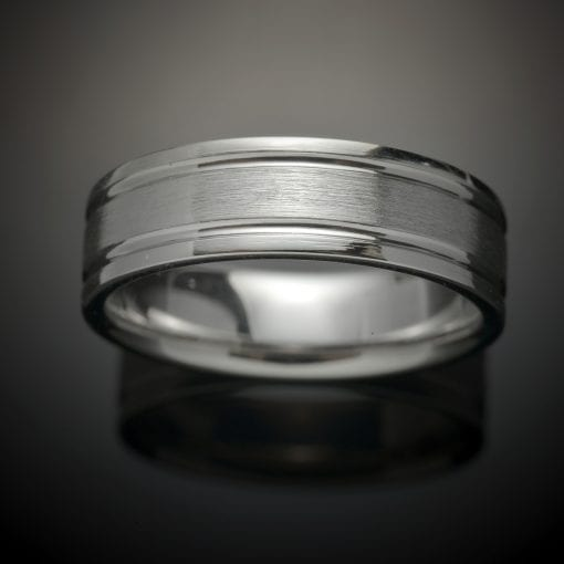 Grooved Platinum Wedding Ring