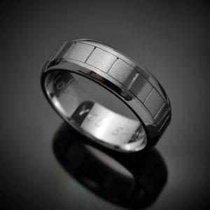 Handmade Black Rhodium Finish 14K Gold Wedding Ring