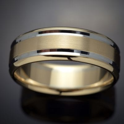 Faceted Inlay 14K Two-Tone Wedding Ring