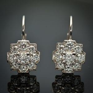 Diamond Halo Lever Back Earrings