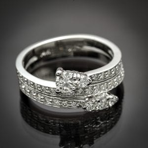 Triple Row Diamond By-Pass Ring