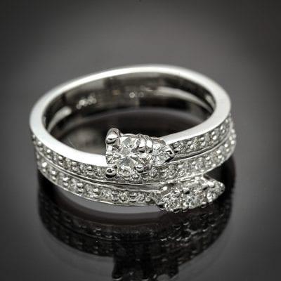 Triple Row Diamond By-Pass Ring