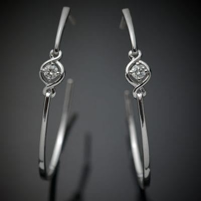 Solitaire Diamond Hoop Earrings