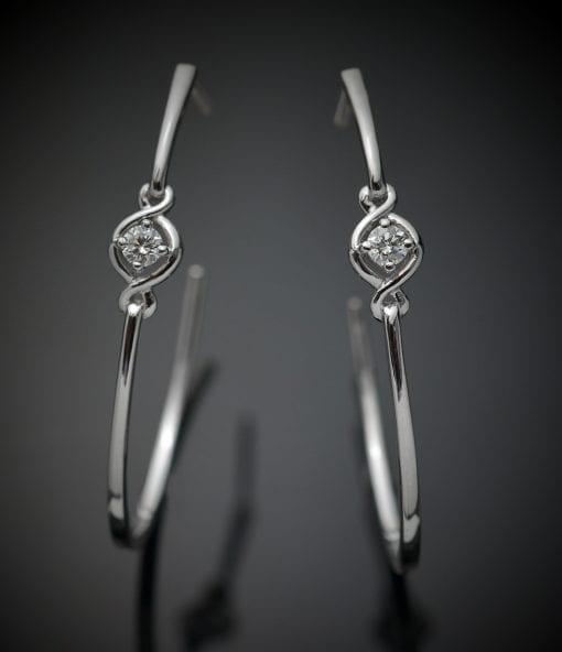 Solitaire Diamond Hoop Earrings