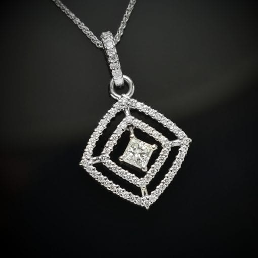 Princess Cut and Round Diamond Pendant 1