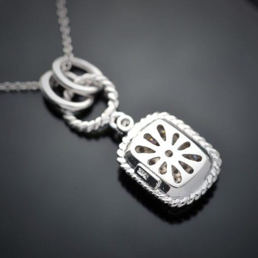 Cushion Shape Diamond Pendant in 14K White Gold 1