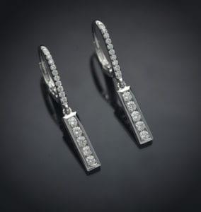 Channel Set Diamond Lever Back Earrings