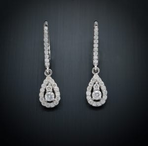 Diamond Tear Drop Lever Back Earrings