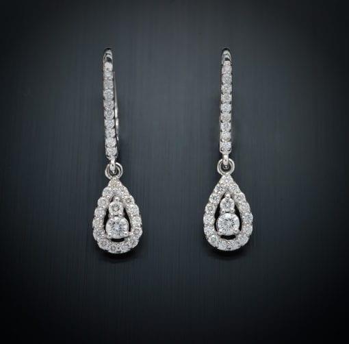 Diamond Tear Drop Lever Back Earrings