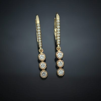 Diamond Lever Back Earrings with Milgrain Bezel Drops