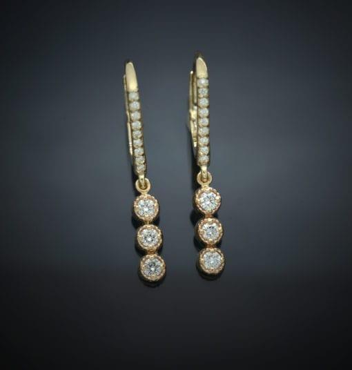 Diamond Lever Back Earrings with Milgrain Bezel Drops