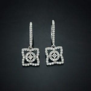 Diamond Flower Lever Back Earrings