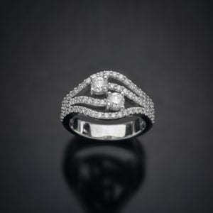 Multi Row Diamond By-Pass Ring