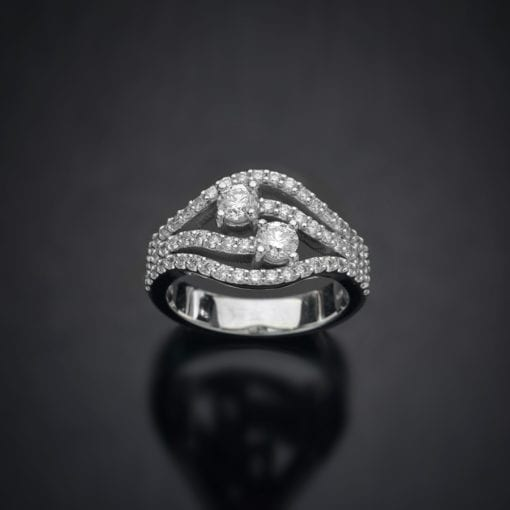 Multi Row Diamond By-Pass Ring