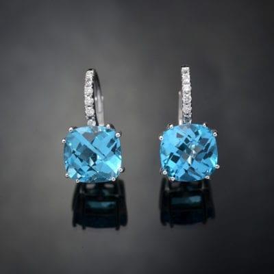 Blue Topaz and Diamond Earrings