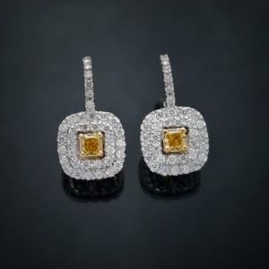 Fancy Yellow Double Halo Earrings