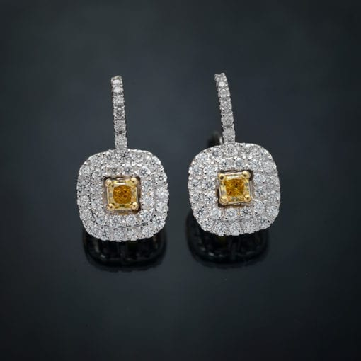 Fancy Yellow Double Halo Earrings