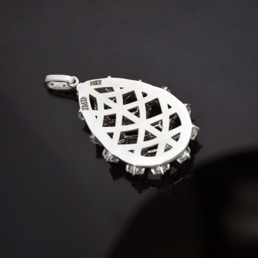 Diamond Latticework Pendant in 14K White Gold 1