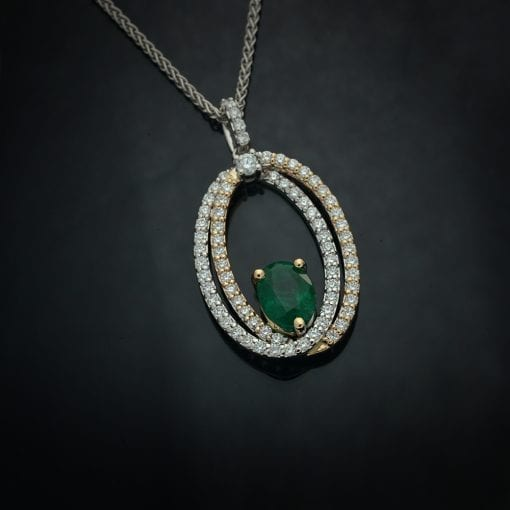 Double Oval Diamond Pendant in Two-Tone 14K Gold 1