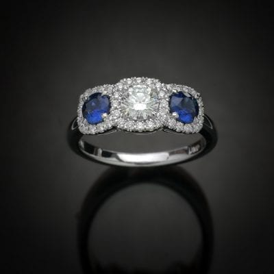 Triple Halo Diamond and Sapphire Ring