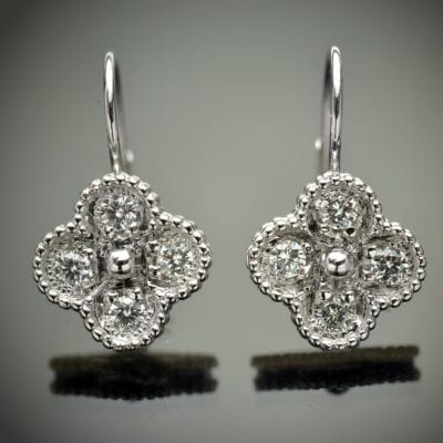 Diamond Clover Design Earrings