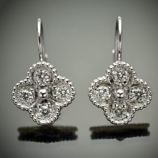 Diamond Clover Design Earrings