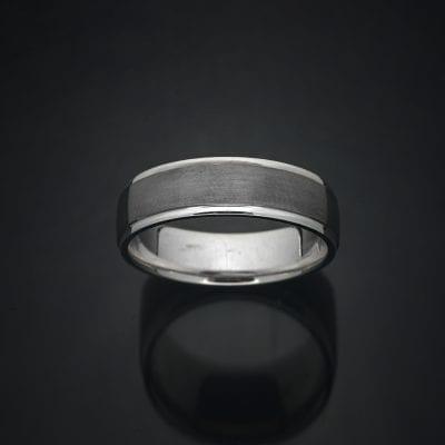 Custom Black Rhodium Finish 14K Gold Wedding Ring