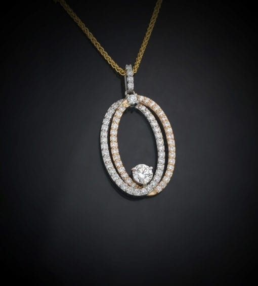 Double Oval Diamond Pendant