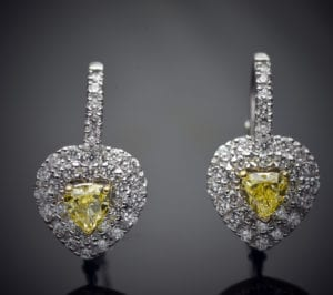 Fancy Yellow Heart Shape Diamond Earrings