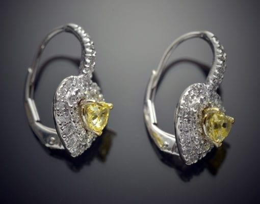 Fancy Yellow Heart Shape Diamond Earrings