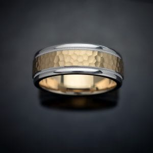 Hammered Milgrain 14K Two-Tone Wedding Ring