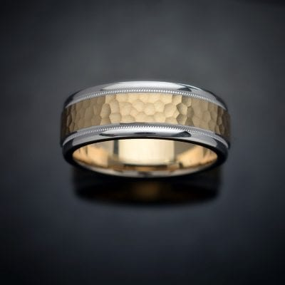 Hammered Milgrain 14K Two-Tone Wedding Ring