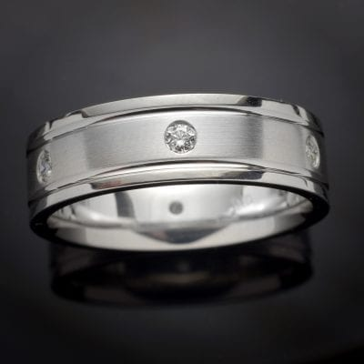Gentleman's Custom Made Platinum Diamond Wedding Band