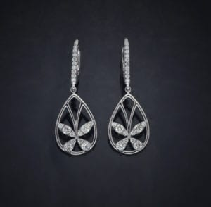 Diamond Butterfly Lever Back Earrings