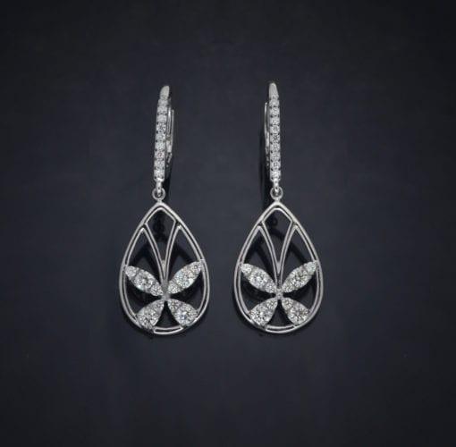 Diamond Butterfly Lever Back Earrings