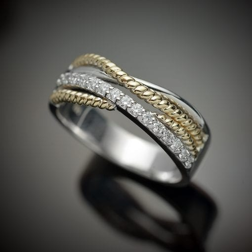 Diamond Ring with Braided Accent