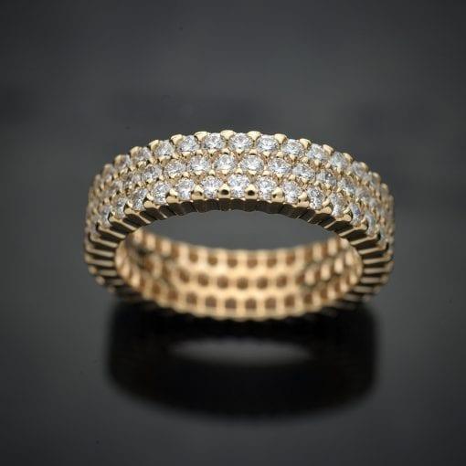 Triple Row Diamond Eternity Ring in 14K Yellow Gold 1
