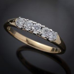 Five Diamond Wedding Ring