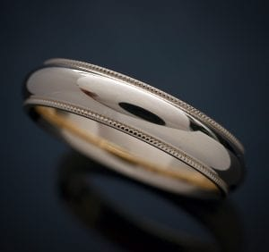 Milgrain Comfort Fit Wedding Ring in 14K Yellow Gold